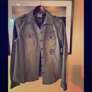 EUC Harley-Davidson khaki colored shirt